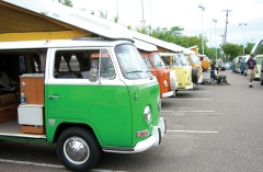 VW bus campers lined up