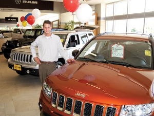 Steve Lodien, Brookdale Chrysler Jeep, with the Jeep Compass and Patriot.