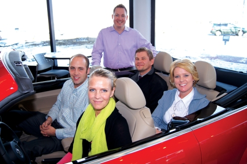The sales team, from left, James Baldwin, Anna May, Manager Todd Earnest, Juri Loginov and Jill Taylor.
