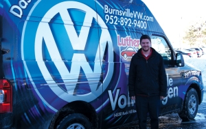 Burnsville VW parts delivery driver Will Ruddy delivers parts from seven Luther stores, to east Bloomington and south of the river.