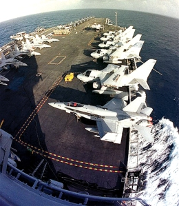 The flight deck of the 91,300-ton U.S.S. Stennis aircraft carrier