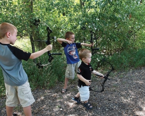 Jeanotte family archers, from left, Brayden, Brody and Gunnar.