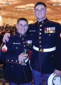Shawn Bradley, right, with a fellow Marine.