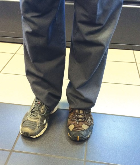 "A detailer at Park Place Motor Cars in Rochester, anonymously referred to at ""JJ,"" was in such a hurry to get to work that he unknowingly put on two different shoes.  He didn't notice until he got to the dealership.  ""We didn't tease him at all that day,"" said GM Dan Mobley, with a wink."