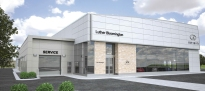 """A rendering of the new Infiniti of Bloomington building, which will bring a suspended appearance and """"glass sail"""" elements to motorists on Interstate 35W."""