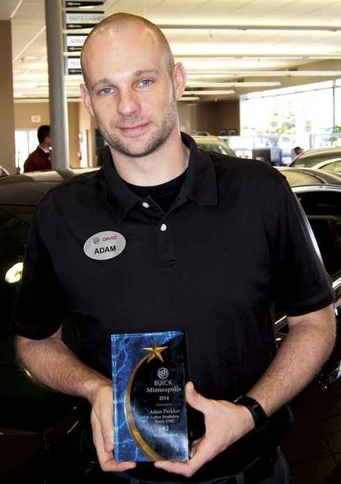 Adam Prekker was recognized for a No. 2 sales ranking in the store's zone.  He's with Brookdale Buick GMC.