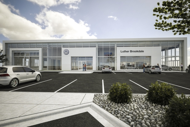 Coming later this summer, Luther Brookdale Volkswagen will be as tall as its Burnsville counterpart, and bring the brightness of its white frame design to Brooklyn Boulevard near Interstate 694.