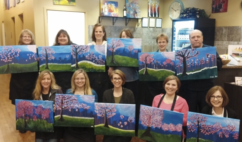 Staff members from Hudson Chevrolet and Hudson Chrysler got together for a colorful painting event at the local Cheers Pablo. Each had a different take on the same artistic theme.