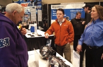 Nick Ciardelli (at right), service manager, Bloomington Hyundai explains aftermarket vs. dealer parts.