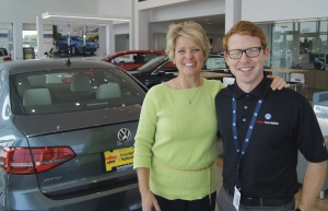 "Brookdale VW's Jill Taylor and Joshua Hare in sales, above have found the new surroundings ""fantastic."""