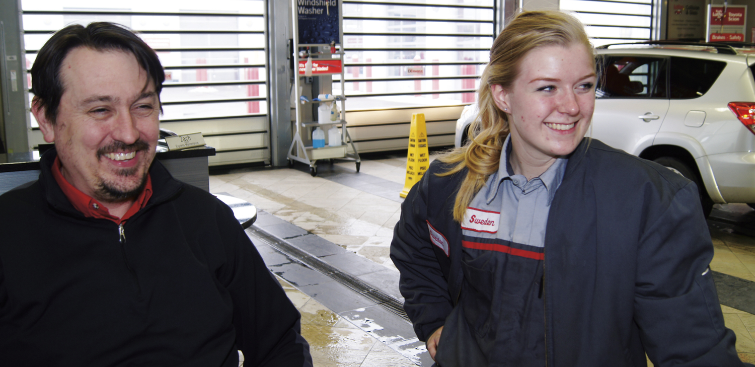 Rudy Luther Toyota Lube Technician Sweden Torgerud, Right, With Service  Advisor Terry Johnson.