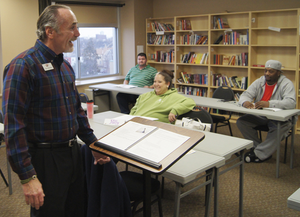 Corporate Trainer Dan Bradley uses humor, his personal testimony and customer service fundamentals to help Minnesota Adult & Teen Challenge grads at Hope Community in south Minneapolis.